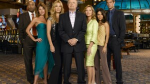 "(l-r) James Lesure as Mike Cannon, Nikki Cox as Mary Connell, Molly Sims as Delinda Deline, James Caan as Ed Deline, Cheryl Ladd as Jillian, Vanessa Marcil as Samantha ""Sam"" Jane, Josh Duhamel as Danny McCoy  -- NBC Universal Photo: Mitch Haaseth"